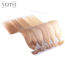 "Neitsi 1.0g/s 16"" 20"" 24"" Machine Made Remy U Nail TIP Human Hair Extensions Straight European Keratin Fusion Hair 50g/pack"