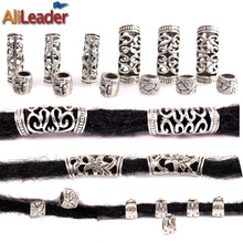 Alileader 10Pcs/Lot Silvery Dreadlock Beads Different 4 Style 7Mm And 5Mm Hole Braid Cuffs Clip Beads  Unadjustable Hair Rings