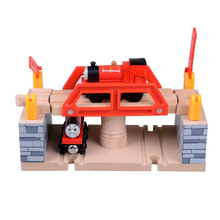 High quality DIY Baby wooden vehicle toys multi function Tomas railway train track slot toys(China)
