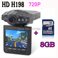 H198 Car DVR with 2.5 Inch 270 Degree Rotated Screen 6 IR LED Vehicle Black Box Camera + 8GB Memory Card