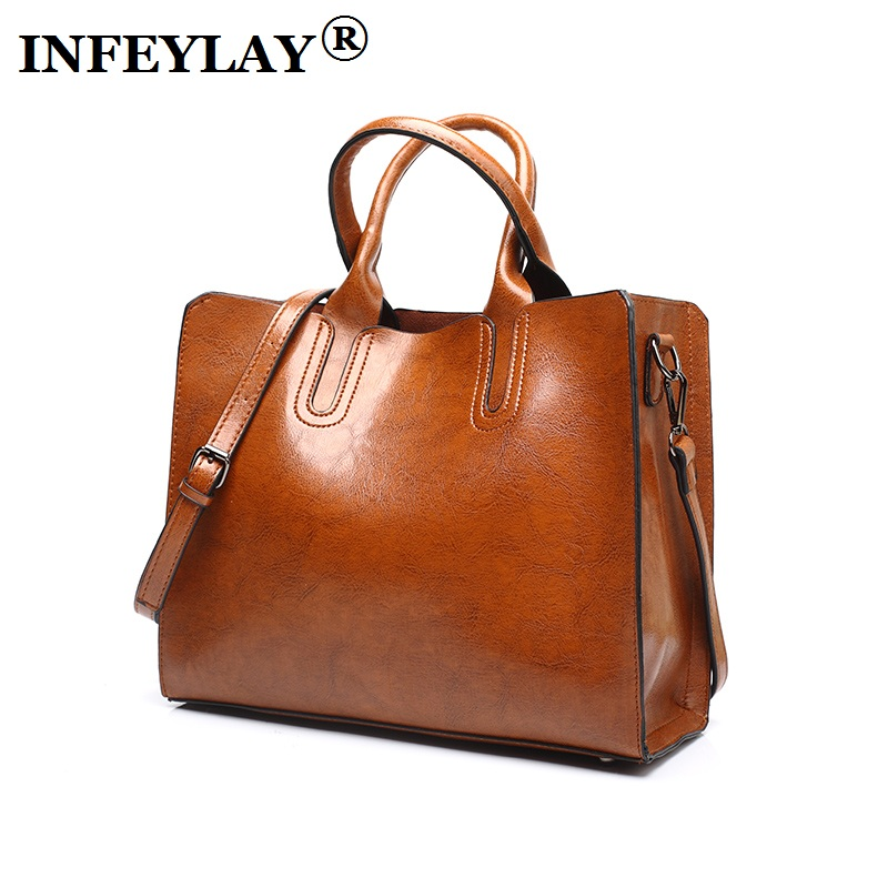 Brand cowhide new Oil wax handbag embossed casual Crossbody bag fashion shoulder bag girl messenger bags dress vintage women bag<br>