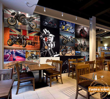 Custom vintage motor bike race rock wallpaper mural harley-davidson motorcycle tv sofa bedroom living room cafe bar setting wall