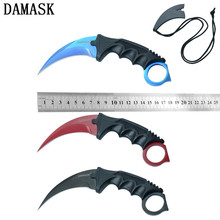 Damask Brand Karambit Fixed Blade Knife Sharp Stainless Steel Blade CSGO Counter Strike Claw Hunting Knives 1 Piece Hot Sale