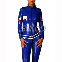 sexy new fashion clothing policy latex wearing catsuit Latex Catsuit unifrom MILITARY ARMY WOMAN RUBBER BODY SUIT(China)