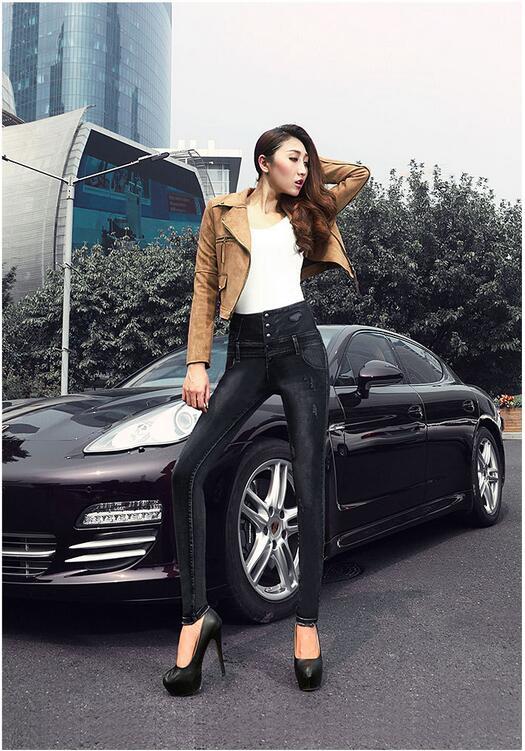 2017 summer top fashion korean black color high waist woman denim pants button ripped scratched pencil sheath women jeans D81Одежда и ак�е��уары<br><br><br>Aliexpress