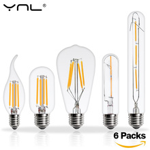 6pcs Lampada LED Edison Bulb E27 E14 220V 2W 4W 6W 8W Bombillas LED Filament Lamp Vintage Antique Retro Candle Glass Light(China)