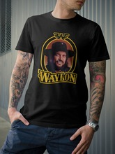 Waylon Jennings Outlaw Country Music Mens T Shirts WAYLON JENNINGS God Guns And Texas t-shirt Flag euro sizeS-XXXL(China)