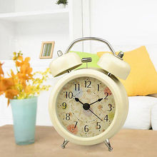 HOT Bedroom Desk Table Alarm Clock Pastoral Metal Twin Double Bell Desk Clock(China)