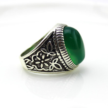 2017 White Antique silver classics Tibetan Silver With natural stone Ring Free shipping Vintage green Rings For Men