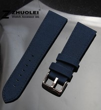 men's watch band 18mm 20mm 22mm 24mm Dark blue Nylon Canvas Durable Sport Padded Watch Strap comfortable Leather Lining