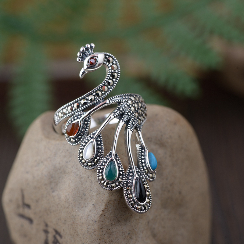 Diamonds Engraved in 925 Sterling Silver Peacock Ring