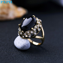 European Vintage Noble Large Black Synthetic Gem Ring For Women R269(China)