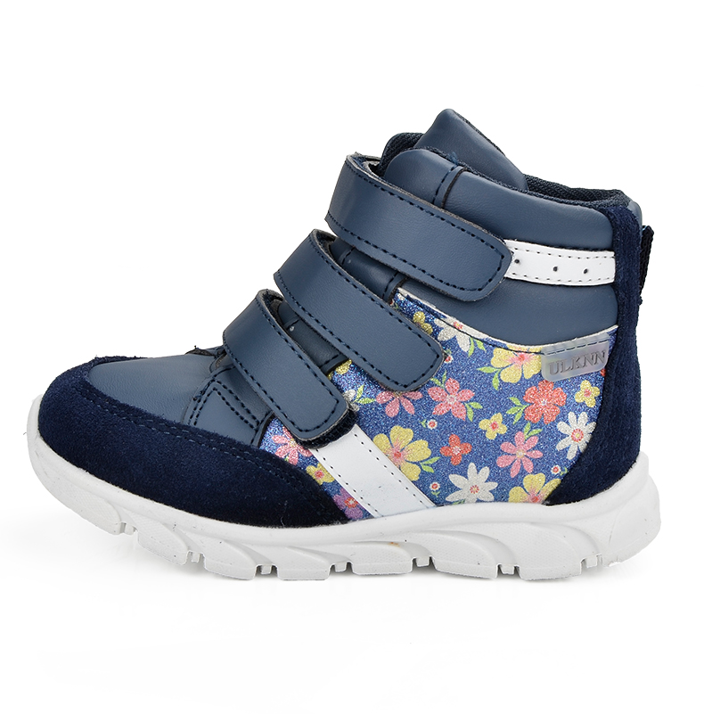 ULKNN Children Shoes For Girls Sneakers Massage Running Sport Shoes Genuine Leather Kids Sneakers Print Fashion Blue Size 20-25 (8)