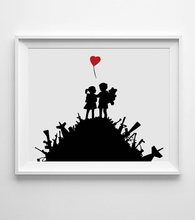 Girl With Heart Balloon Banksy Style Wall Decal Art Boy Girl Balloon Graffiti Wall Hanging Fine Art Paper Home Decor AP098(China)