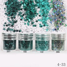 1Box 10ml Dark Green Nail Glitter Powder Hexagon Round Powder Sheets Dust Tips Nail Art Decoration #18758