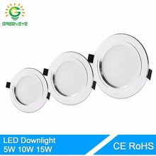 GreenEye Ultra Bright Round LED Downlight 5W 10W 15W Aluminum Bombillas AC 110V 220V LED Down Light Ceiling Recessed Spot Light(China)