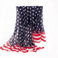 Soft Concise Design With USA Flag Scarf Red Stripe Women Polyester Scarf Print Star Soft Personality Decoration For Lady150*75cm(China)
