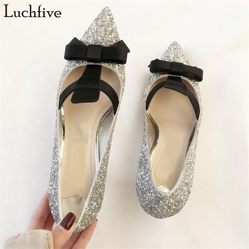 Luchfive 2018 silver sexy bridal wedding shoes women bling bling sequins decor bowtie pointed toe glittery kitten heels pumps