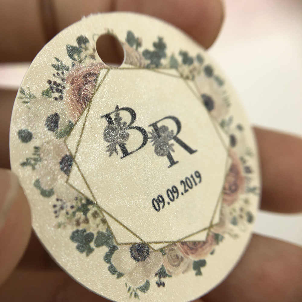 38mm-100pcs Favor Tags With Hole Custom Thank You Labels Personalized Wedding Gift Cupcake Candy  Tags