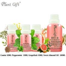 Free Shopping 100% Pure Plant Essential Oil Cumin / Peppermint / Grapefruit  / Sweet Almond Oil 10ml Essential Oil Lose Weight