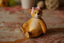 1 Pcs/wood bear/Teddy/carved crafts animals/fairy garden/terrarium/  home decor/Christmas birthday gift/delicate miniatures