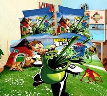 green blue BEN 10 boys print bedding sets kids home textile single twin size bedspread japanese anime quilt duvet cover 3 pieces(China)