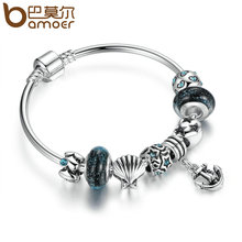 BAMOER Vintage Summer Collection Silver Color Black Glass Beads Anchor Pendant Charms Bangles Women Fashion Jewelry PA3813(China)