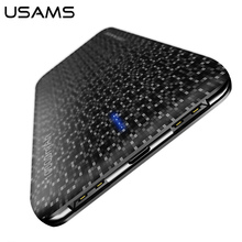 USAMS Power Bank 15mm Ultra Slim 10000mAh Powerbank Mobile Phone 2.1A Output 10000mah External Battery(China)