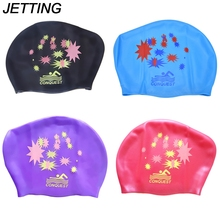 JETTING 1*Swimming Cap Star Print Waterproof Silicone Swim Cap Hat For Ladies Women Long Hair With Ear Cup(China)
