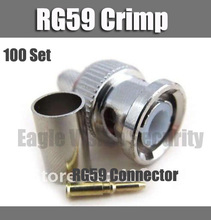 CCTV RG59 Connector BNC male crimp plug for RG59 coaxial cable BNC Connector BNC male 3-piece crimp connector plugs 100 set