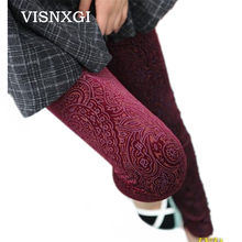 2017 Spring And Autumn Top Fashion Printing Style Waist Knitted Leggings New Luxury Section Hollow Lace Flower Leggings K005