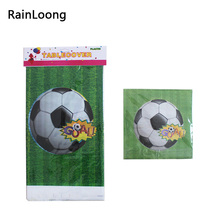 Disposable Plastic Table Cloth Football Table Cover Tablecloth Waterproof And Match Paper Napkin For Sport Party Decoration(China)