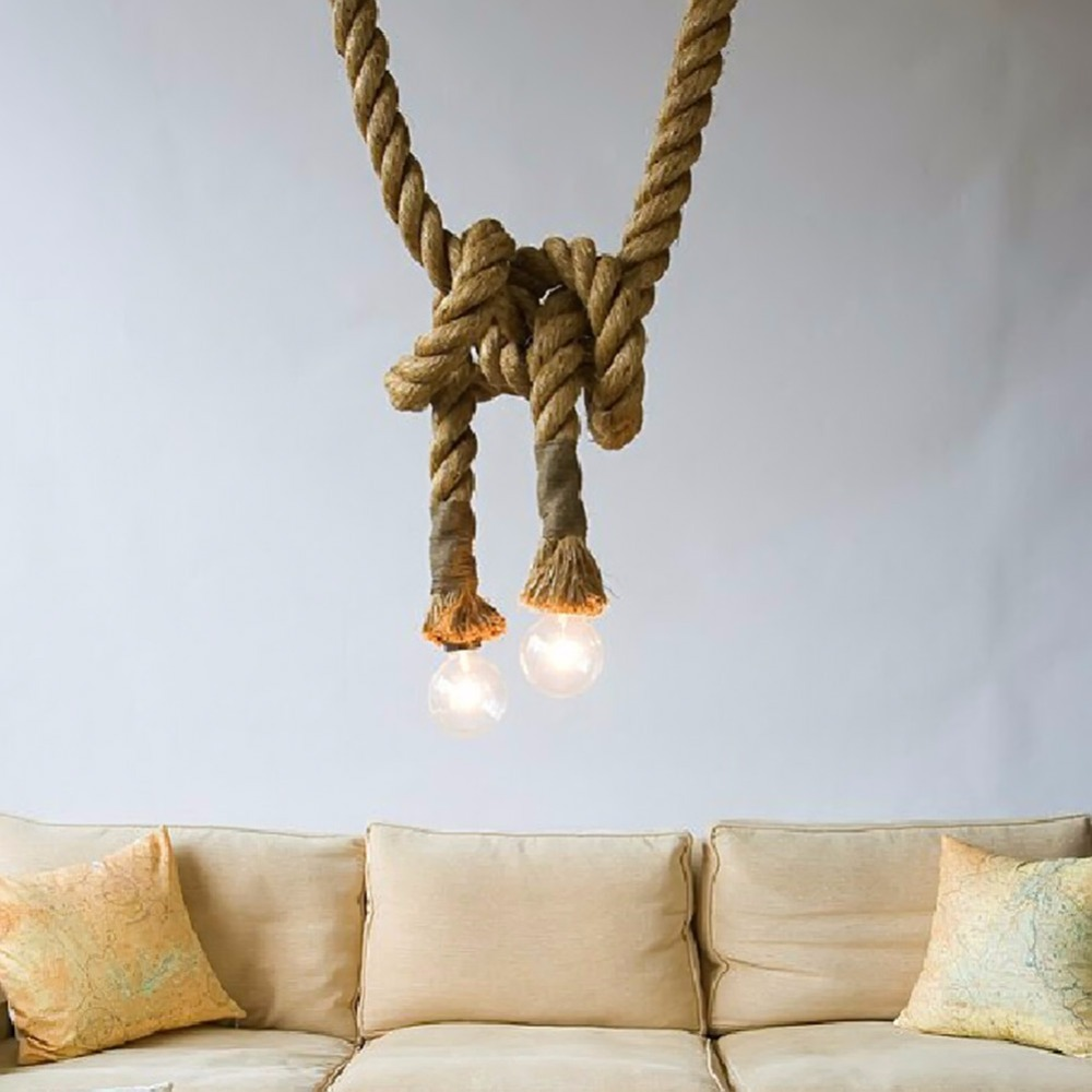 1pcs 2.5m Vintage Rope Pendant Lights Lamp Loft Creative Personality Industrial Lamp American Style For Living Room decoration<br>