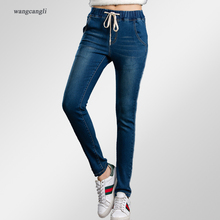 jeans women tight large size 5XL blue mid waist  stretch elastic waist decoration moustache effect Tight-fitting jeans woman