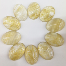 Wholesale fashion 20pcs/lot 25*18mm yellow citrien stone beads Oval CAB CABOCHON teardrop Free shipping(China)