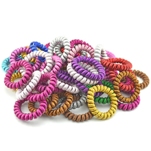 Wholesale 50PCS Fabric Telephone Wire Hair Band Wrapped Cloth Ponytail Holder Elastic Phone Cord Line Hair Tie Hair Accessories