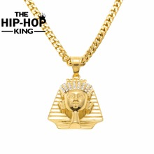 Men's Gold color Egyptian Pharaoh Pendant Necklace Hip Hop Stainless Steel Ankn Ancient Egypt King Necklace For Men Women(China)