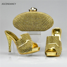 Gold Shoes and Bag Set Decorated with Rhinestone Nigerian Shoes and Bag Set for Wedding High Quality African Shoes and Bag(China)