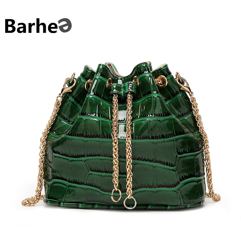 BARHEE Summer Alligator Women Patent Leather Handbag Mini Chains Crossbody Bucket Bag Crocodile Women Messenger Bags Tassels <br><br>Aliexpress