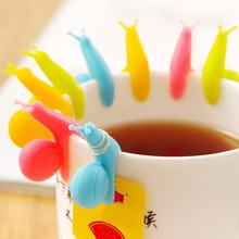 5 PCS/lot Cute Snail Shape Silicone Tea Bag Holder Cup Mug Candy Colors Gift Set GOOD Random Color!