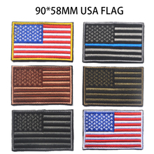 Embroidered 90*58MM USA Flag Patches Army 3D Tactical Military Patches Fabric US Flag Cloth Armband United States Flag Badges(China)
