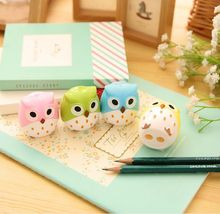 Lovely Owl Pencil Sharpener Kawaii Funny double hole Creative Stationery Students kids Gifts For Kids Korean Stationery