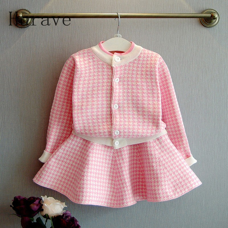 Hurave New design kids girl plaid coat + dress with long sleeved clothing set 2pcs baby girls autumn spring children suits <br>