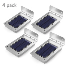 New 4-Pack lederTEK 2nd Generation 16 LEDs Outdoor Wireless Solar Powered PIR Motion Sensor Light/ Wall lights/ Security lights(China)