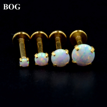 Lot 4 Pcs Gold Labret Monroe Lip Stud Ear Cartiliage Tragus Helix Piercing stud Ring With White Opal Stone 16g Body Jewelry(China)