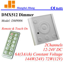 Free Shipping New2013 touch DMX Dimmer, W/ IR Remote, DMX pwm driver, 2channels/12V-24V/3A/144W pn:DM9006