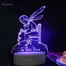 3D Little Prince Fox  Rose  Illusion Night Lamp Light Color Change LED Table Desk novelty lighting holiday Xmas gifts