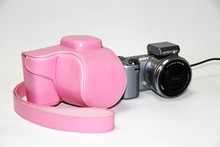 Factory outlets High Quality Photo Bag PU Leather Camera Bag Case + Strap For Sony NEX 5T Free Shipping Pink(China)