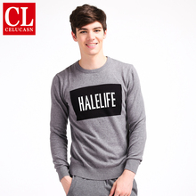 Celucasn HALE LIFE 2017 Mens Pullover Sweater Basic Classic Sweaters Letter Halelife Computer Knitted Pattern Sweaters H6PI6395(China)