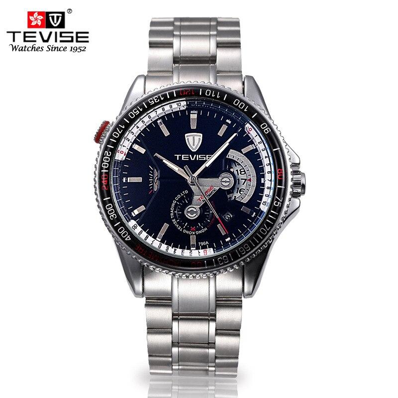 male clocks automatic mechanical casual man wristwatch fashion tevise Brands luxury watch steel waterproof calendar relogio<br><br>Aliexpress